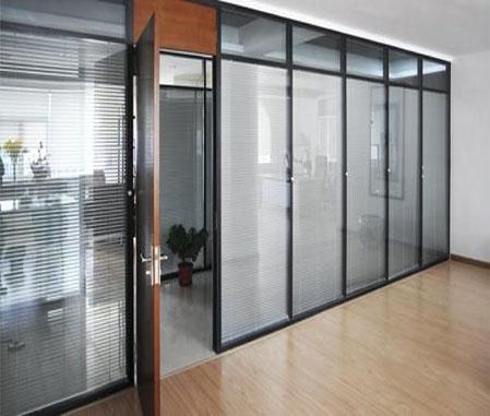 双层玻璃百叶办公隔断